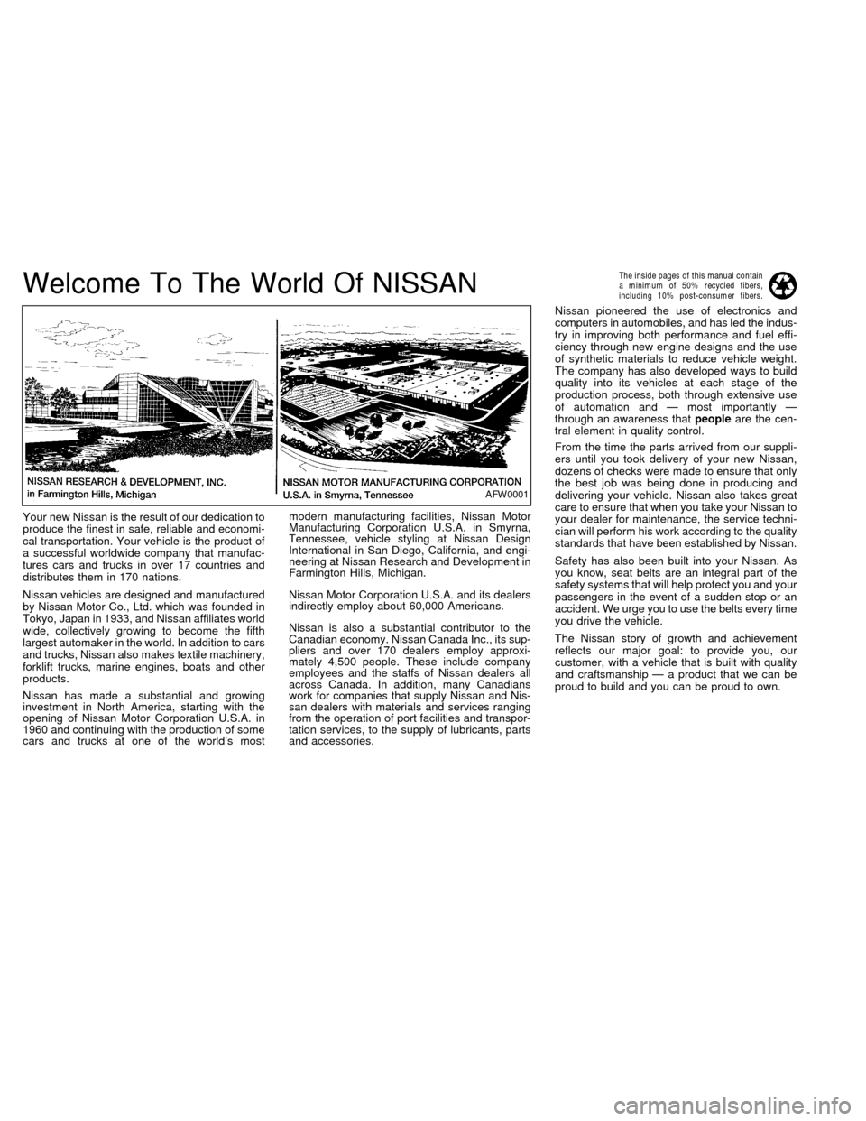 NISSAN ALTIMA 1998 L30 / 2.G Owners Manual