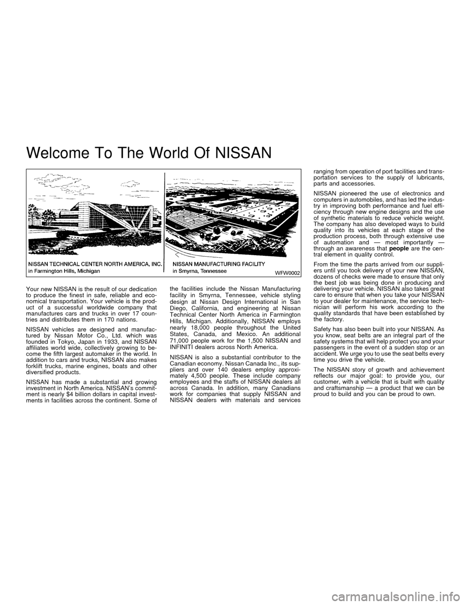 NISSAN FRONTIER 2001 D22 / 1.G Owners Manual