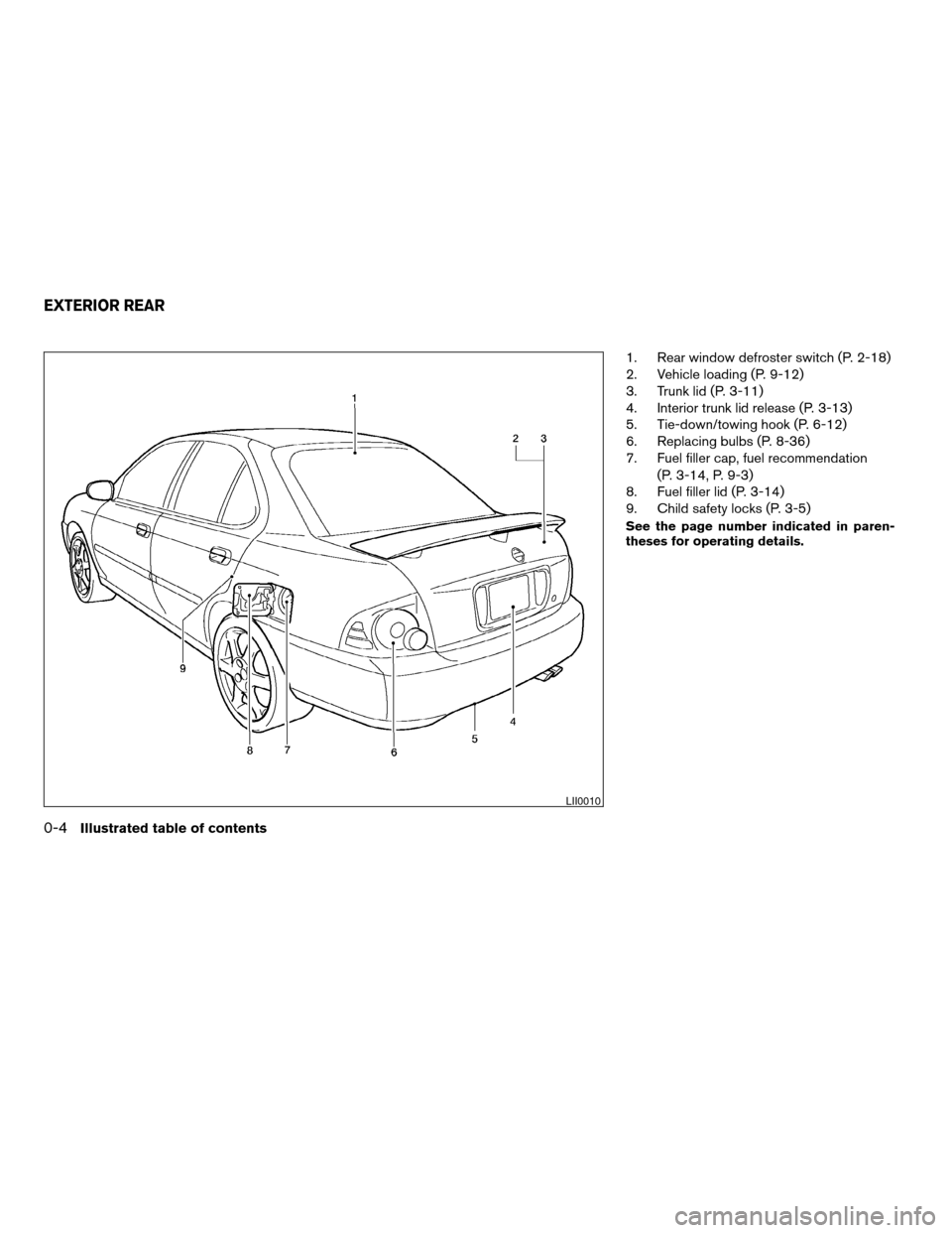 NISSAN SENTRA 2004 B15 / 5.G Owners Manual