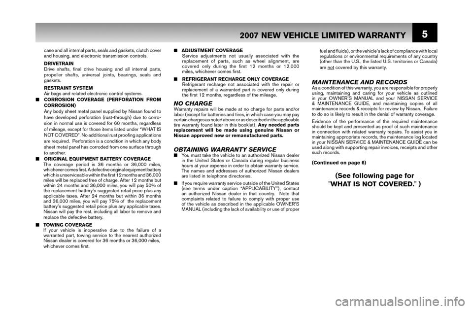 NISSAN SENTRA 2007 B16 / 6.G Warranty Booklet