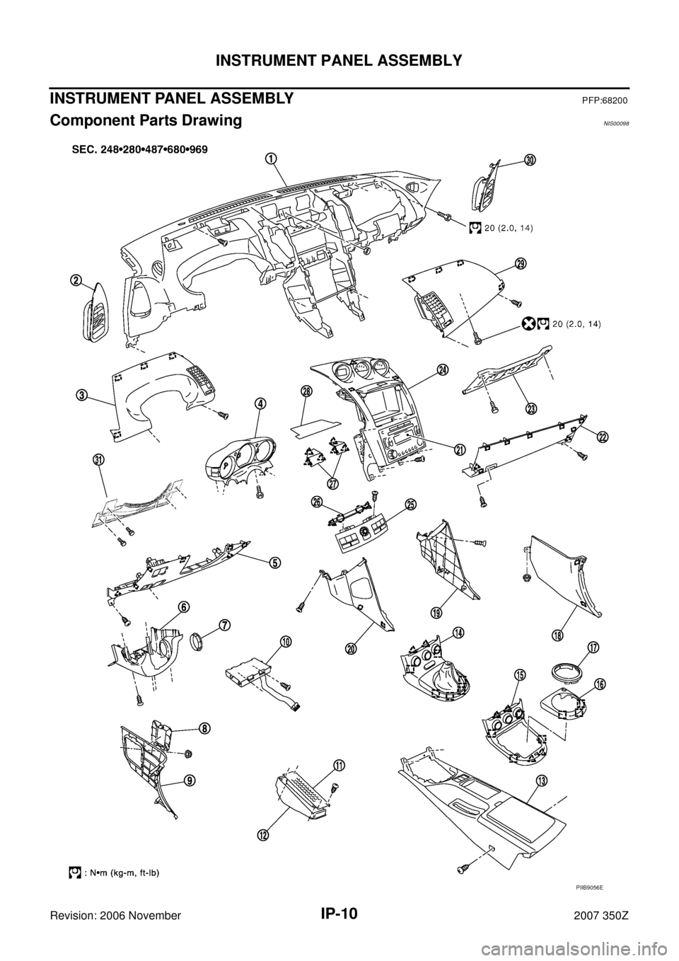 NISSAN 350Z 2007 Z33 Instrument Panel Workshop Manual