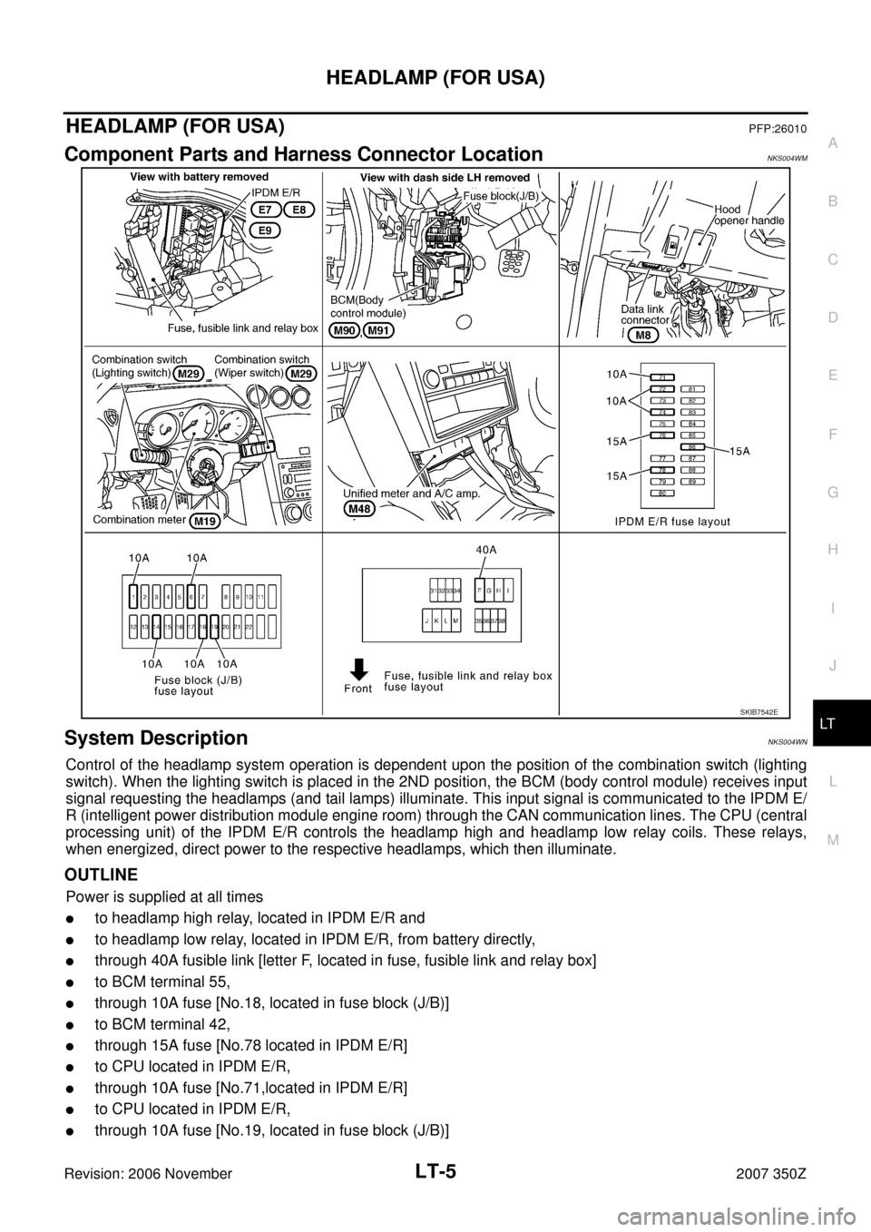hight resolution of nissan 350z 2007 z33 lighting system workshop manual