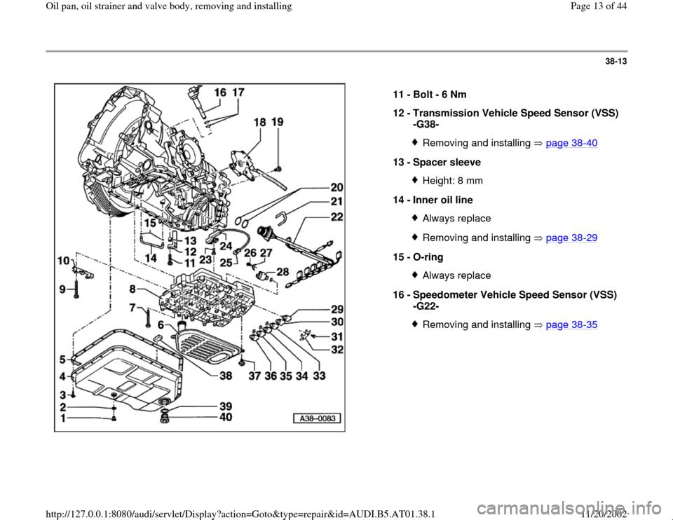 AUDI A4 1999 B5 / 1.G 01V Transmission Oil Pan And Oil