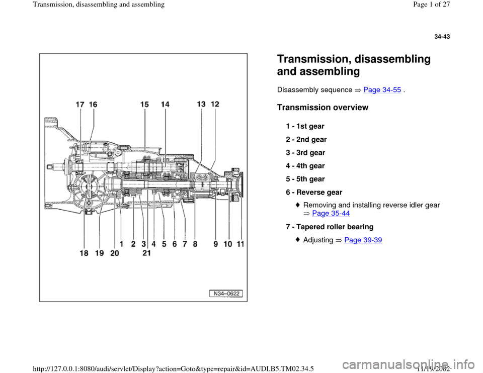 AUDI A4 1997 B5 / 1.G 01A Transmission Assembly Workshop