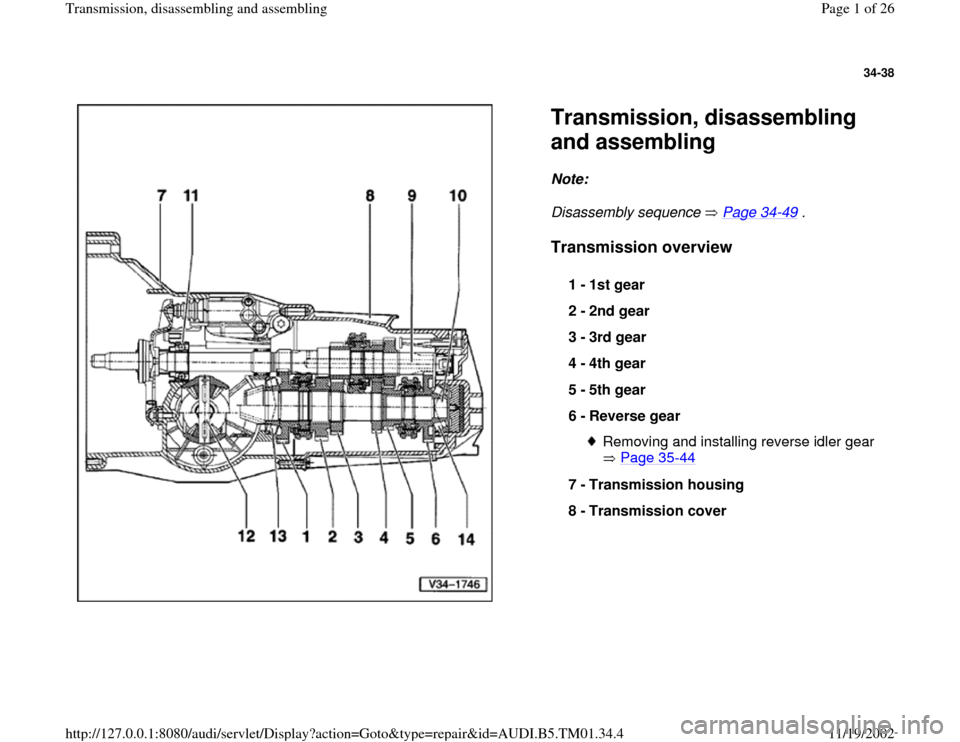 AUDI A4 1999 B5 / 1.G 01W Transmission Disassemble And