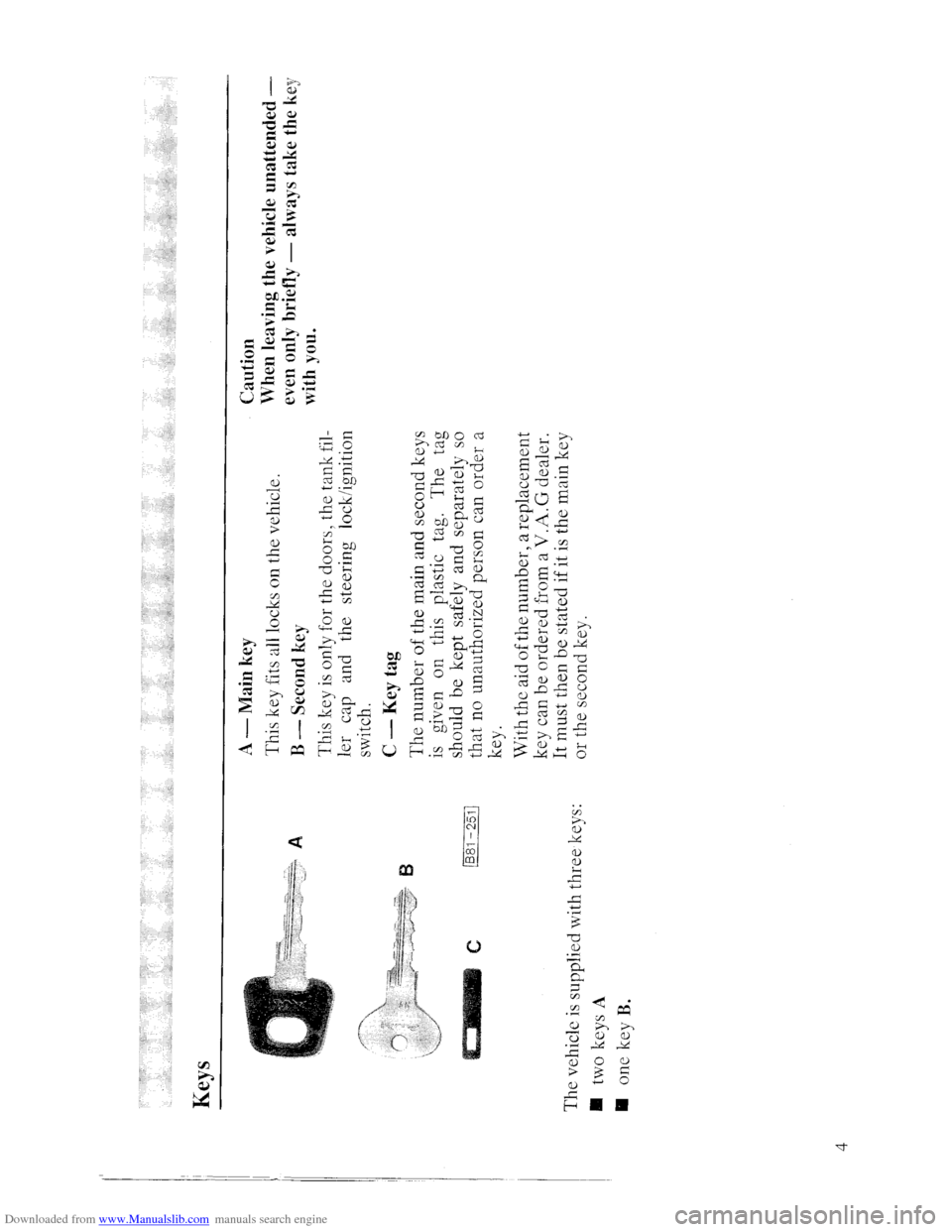 AUDI QUATTRO 1985 85 Owners Manual (46 Pages)