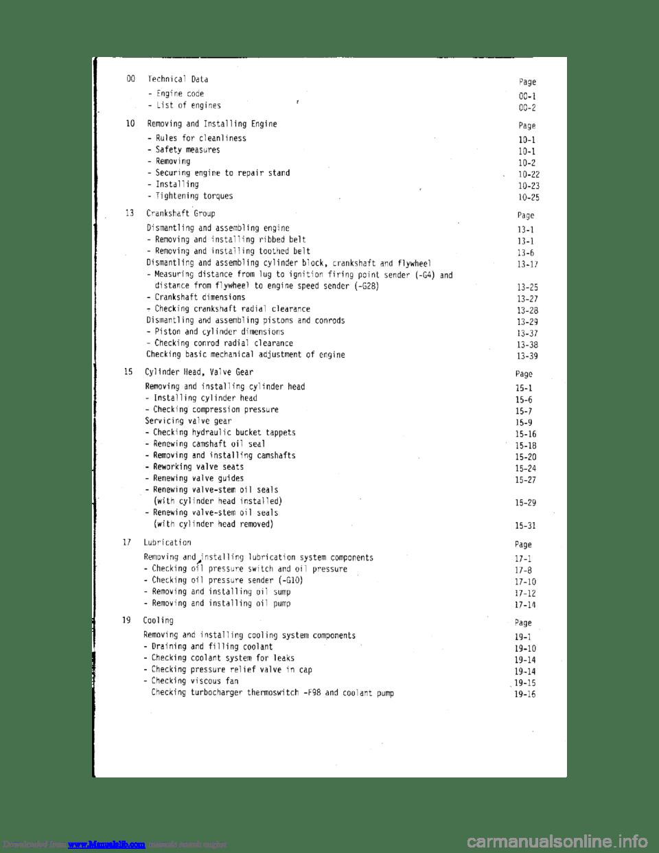 AUDI 100 1991 44 Engine Workshop Manual
