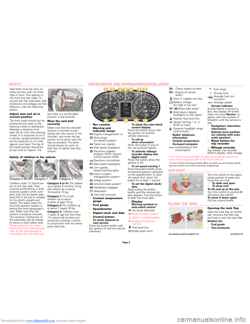 AUDI A3 1996 8L / 1.G Quick Reference Guide