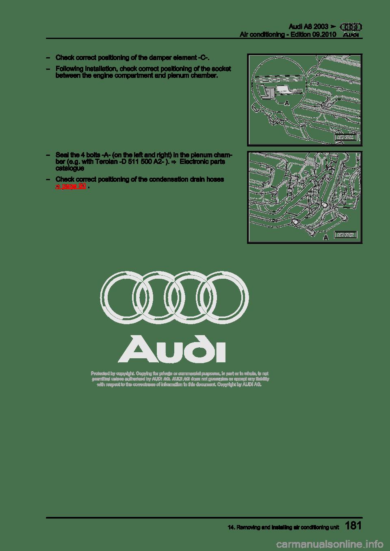 AUDI A8 2003 D3 / 2.G Air Condition Workshop Manual