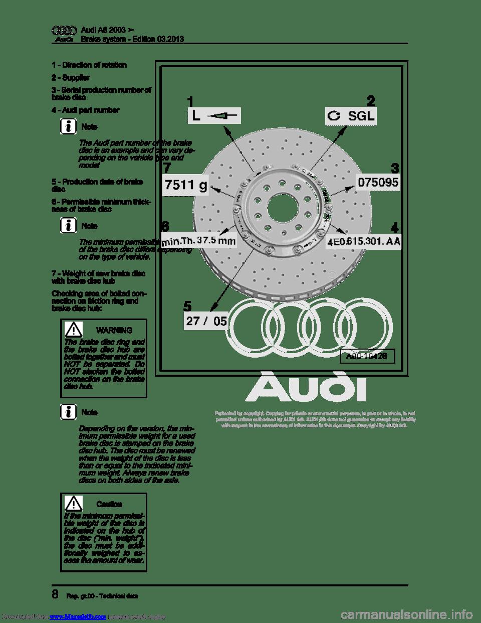 AUDI A8 2003 D3 / 2.G Brake System Workshop Manual