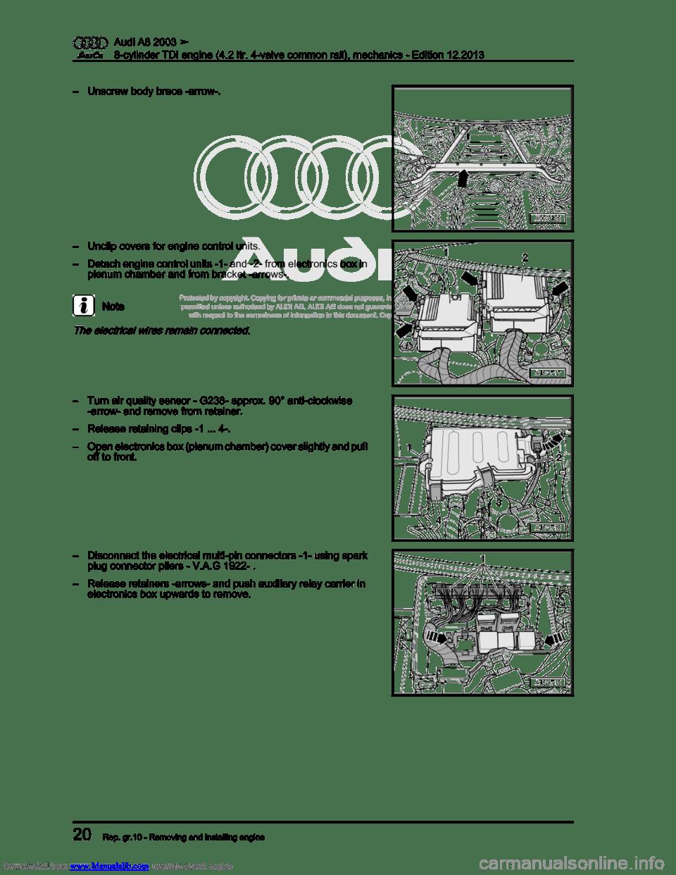 AUDI A8 2003 D3 / 2.G BVN BMC Engines Workshop Manual