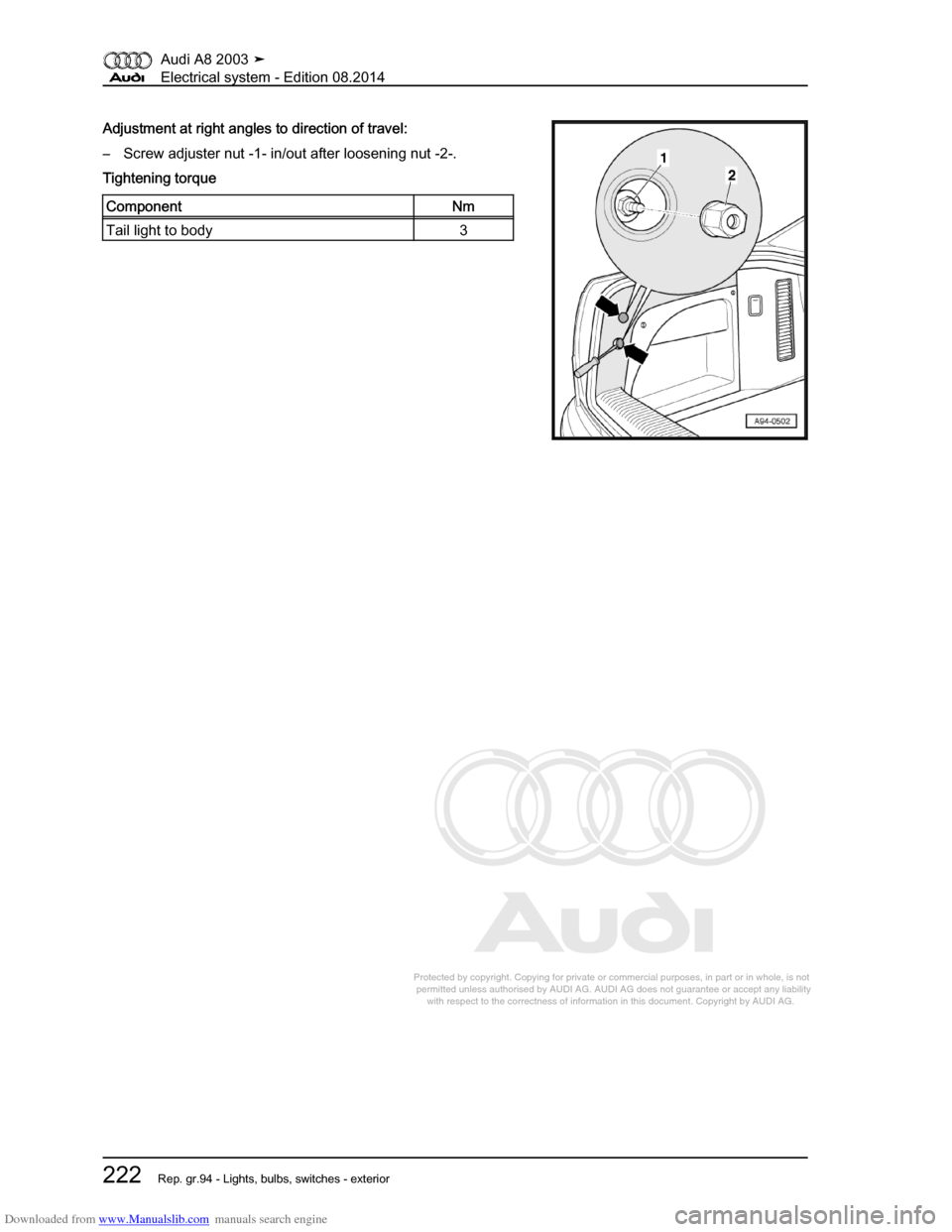 AUDI A8 2003 D3 / 2.G Electrical System Workshop Manual