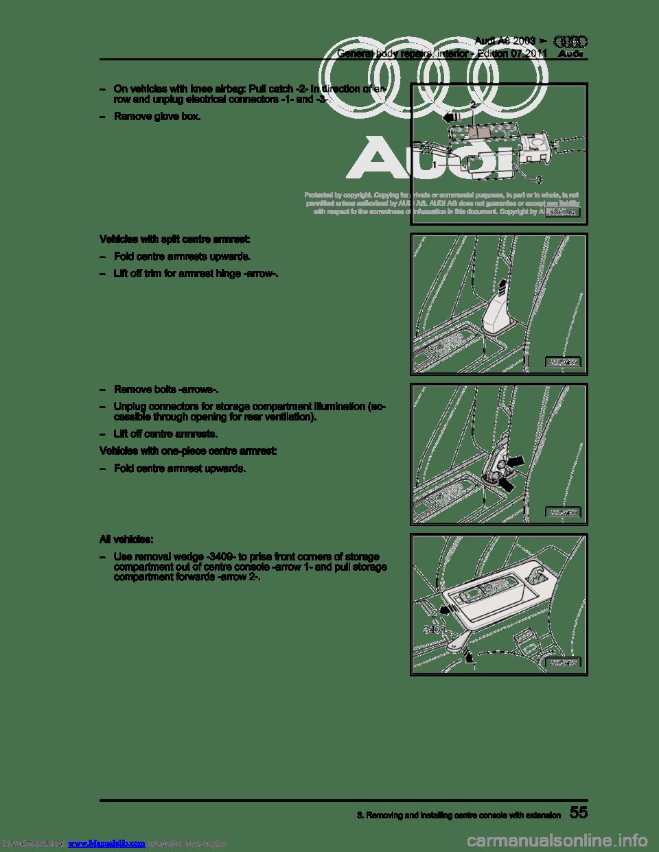 AUDI A8 2003 D3 / 2.G General System Repair Manual (401 Pages)