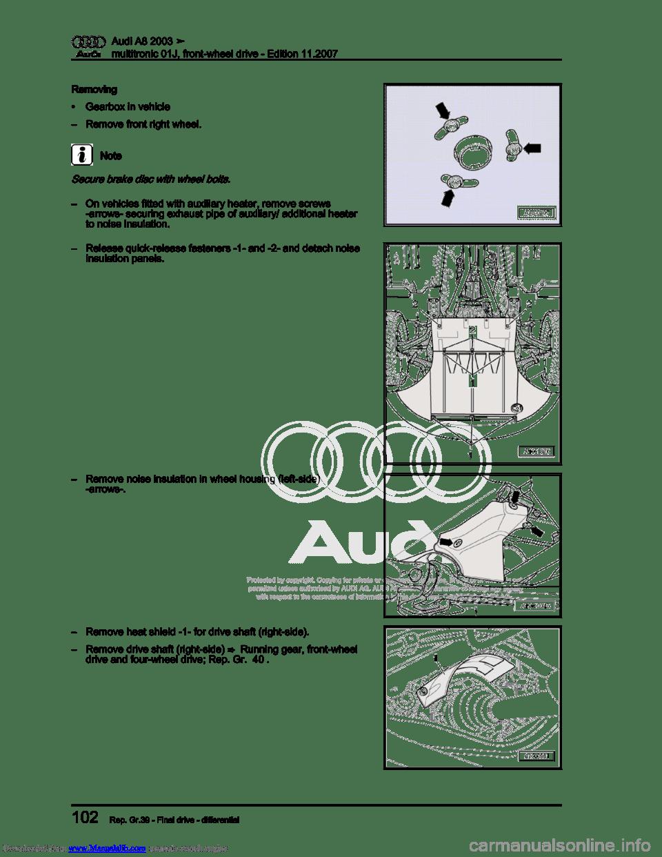 AUDI A8 2003 D3 / 2.G Multitronic System Workshop Manual