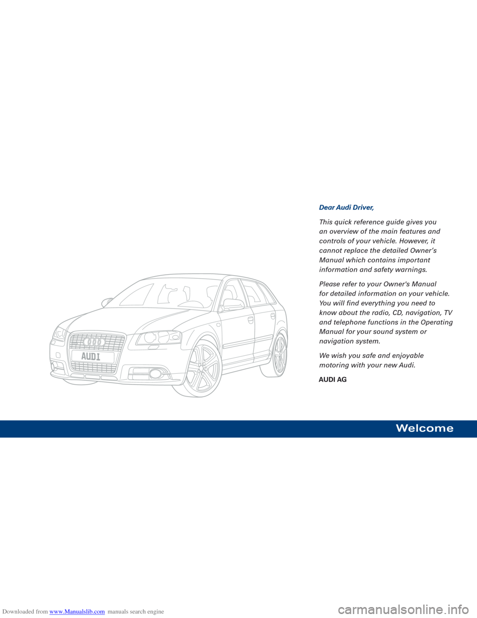 AUDI A3 2007 8P / 2.G Quick Reference Guide