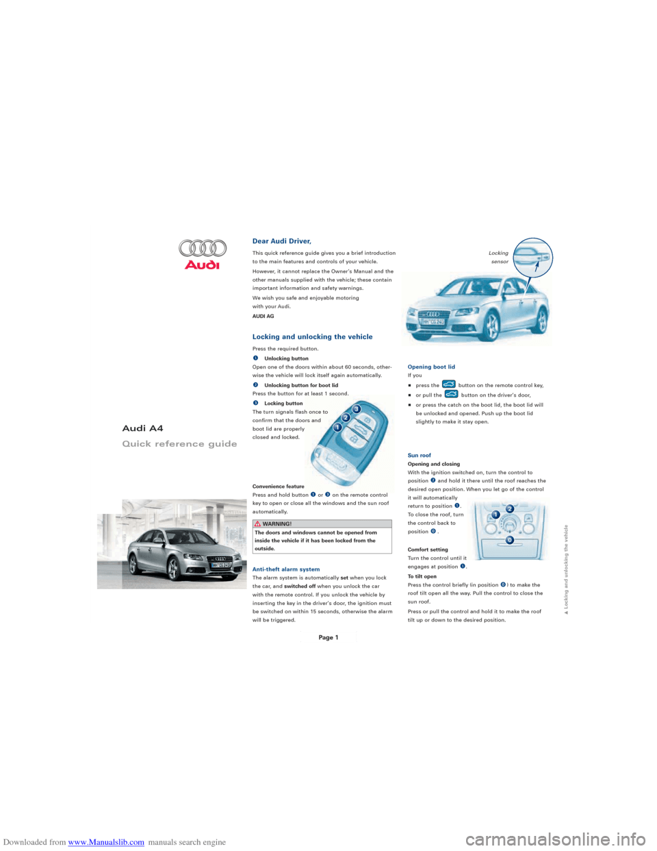 AUDI A4 2008 B8 / 4.G Quick Reference Guide