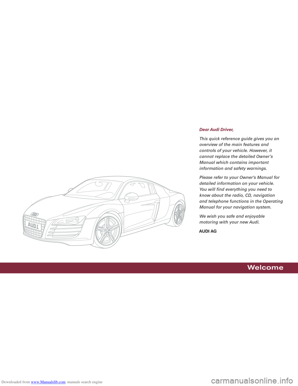 AUDI R8 2008 1.G Quick Reference Guide