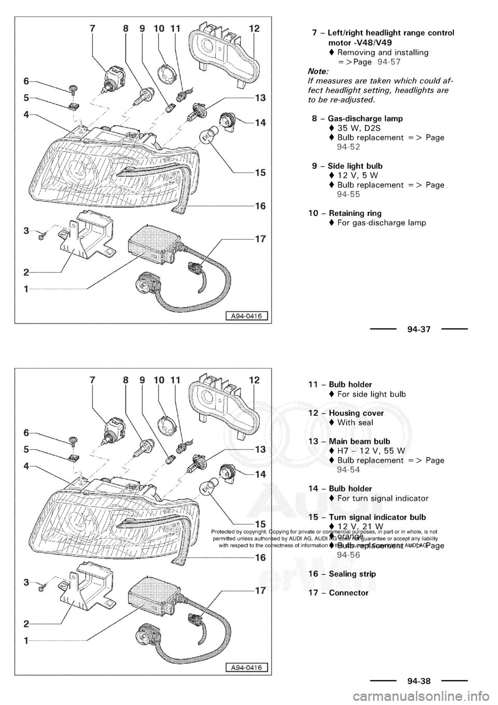 AUDI A3 1998 8L / 1.G Electrical System Workshop Manual