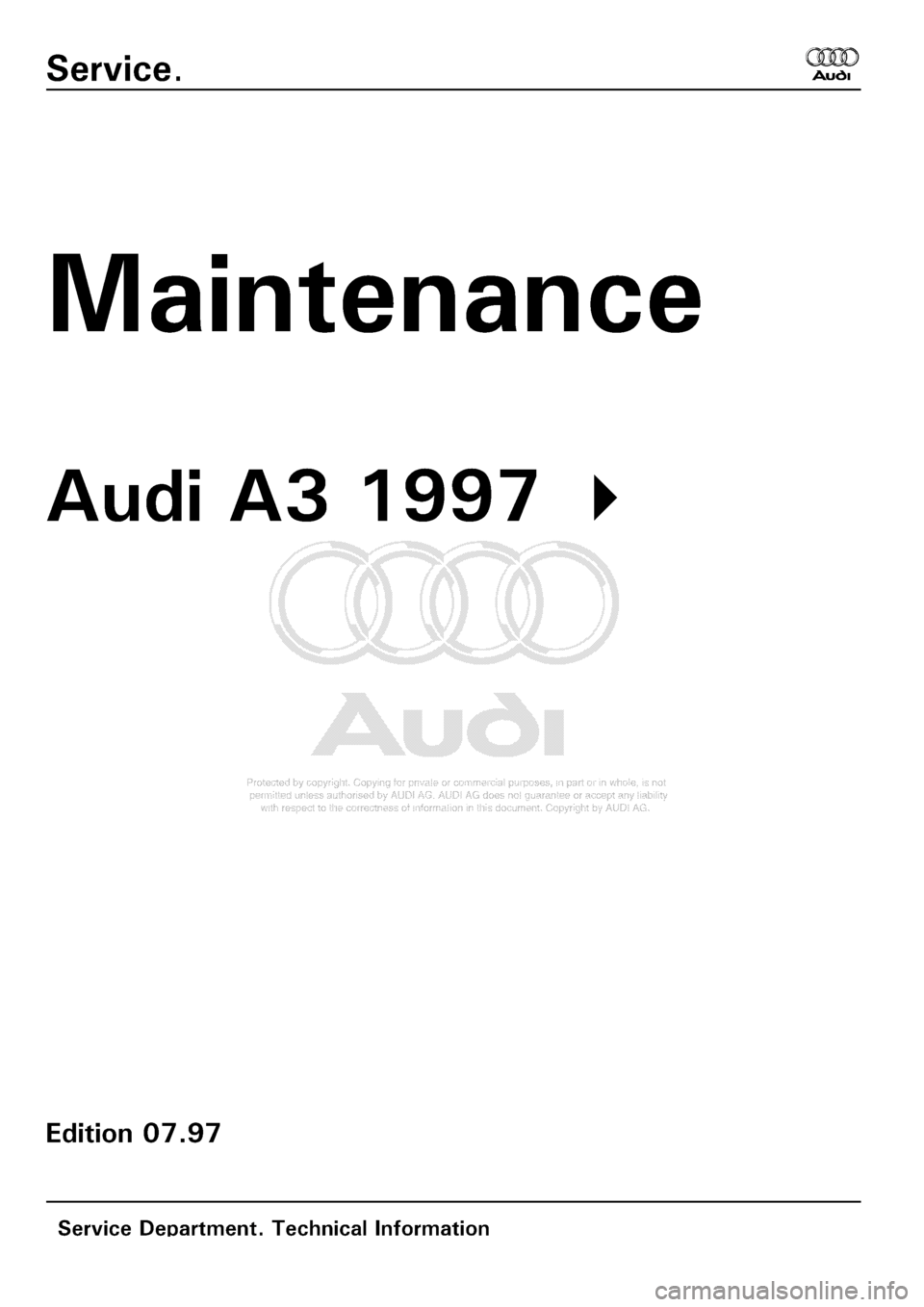 AUDI A3 2001 8L / 1.G Maintenance Workshop Manual