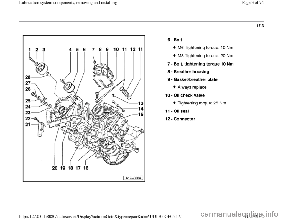 AUDI A4 1998 B5 / 1.G APB Engine Lubrication System