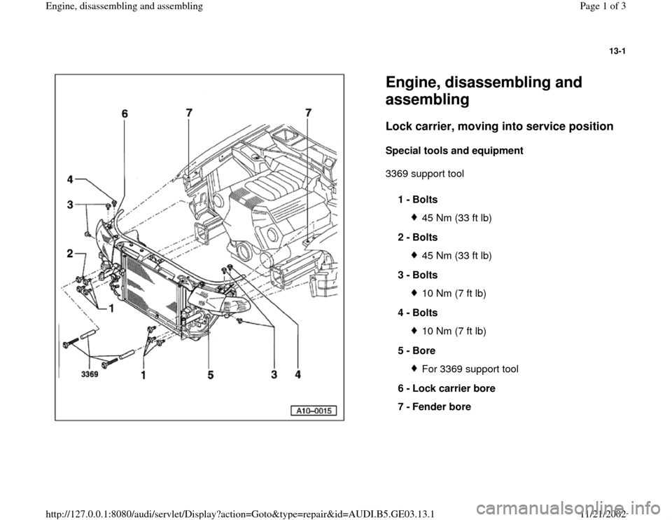 AUDI A6 1999 C5 / 2.G AHA ATQ Engines Assembly Workshop Manual