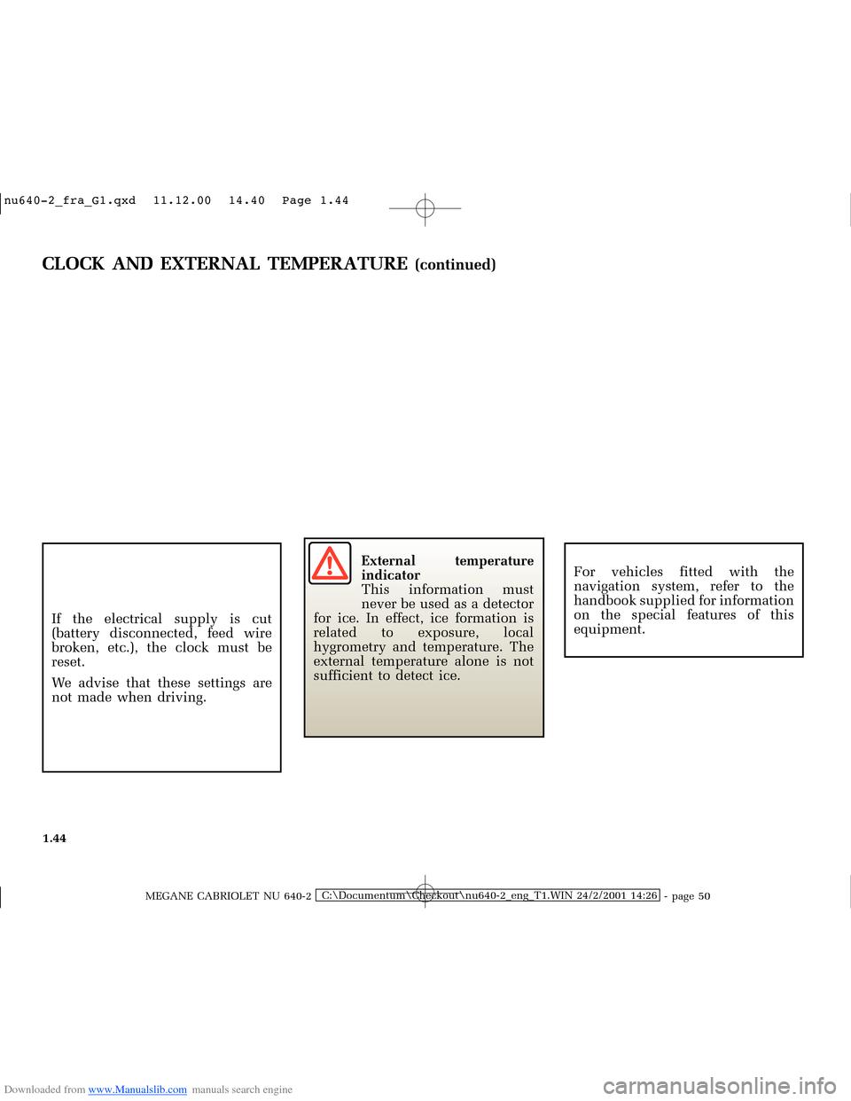 RENAULT MEGANE 2000 X64 / 1.G Owners Manual