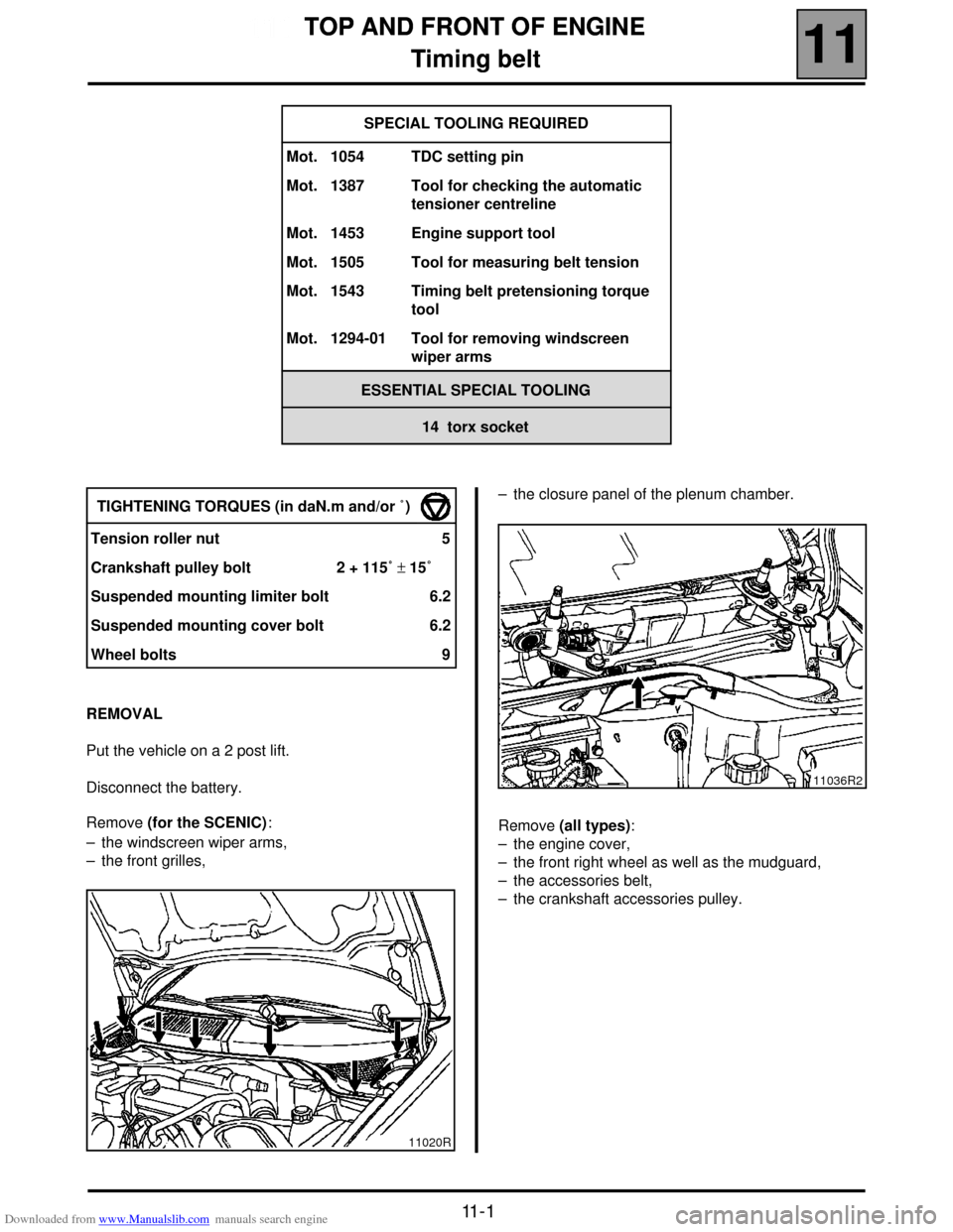 RENAULT SCENIC 2000 J64 / 1.G Technical Note 3426A