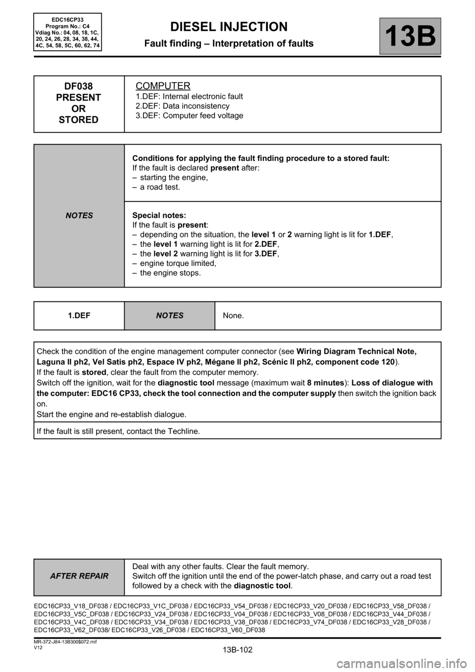 hight resolution of renault scenic 2012 j95 3 g engine and peripherals edc16cp33 workshop manual page