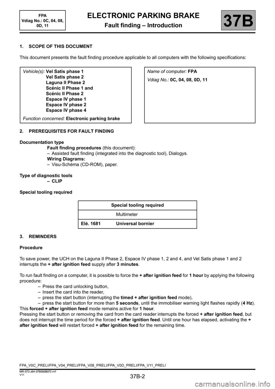 medium resolution of warning renault scenic 2013 j95 3 g electronic parking brake workshop manual