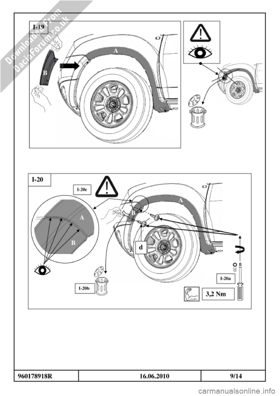 DACIA DUSTER 2010 1.G Wheelarch Mouldings Fitting Guide
