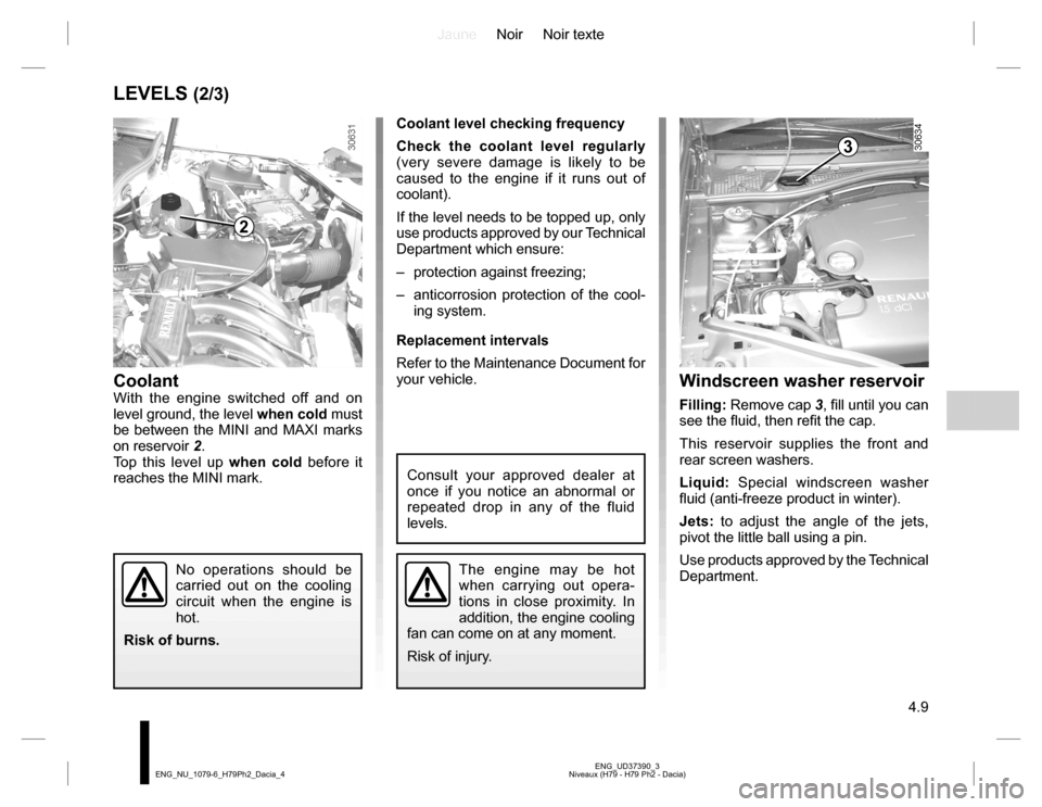 engine coolant DACIA DUSTER 2016 1.G Owners Manual