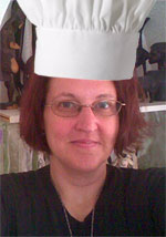 Carma Spence with chef hat superimposed