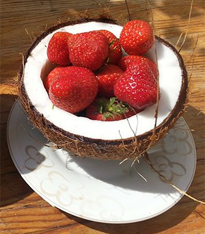 coconut with strawberries