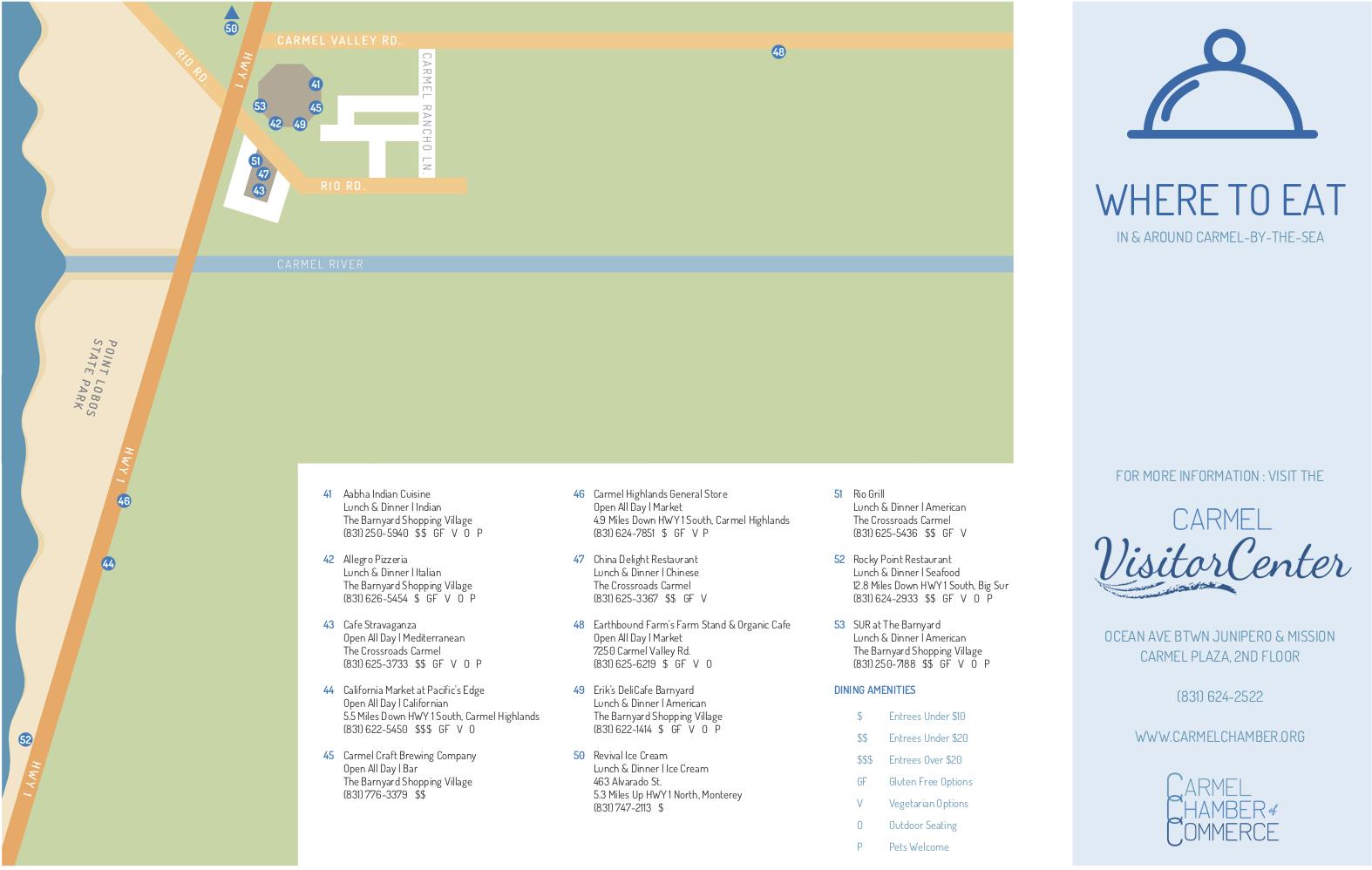 Carmel Restaurant Map • Carmel Chamber of Commerce on