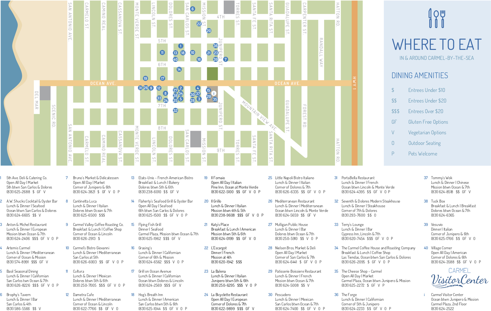 Downtown Carmel Restaurant Map