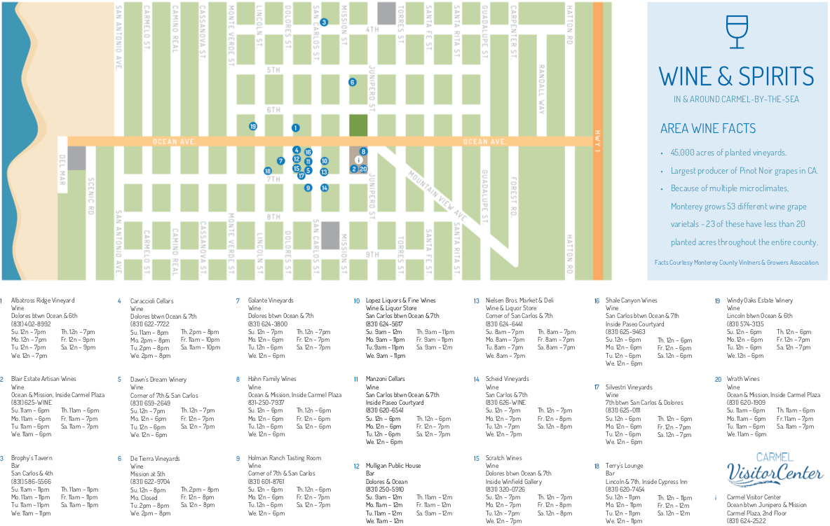 Downtown Carmel Wine Map