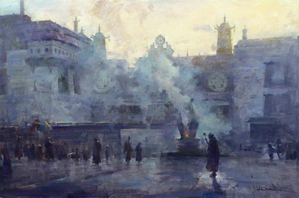 Morning incense at johang monastery