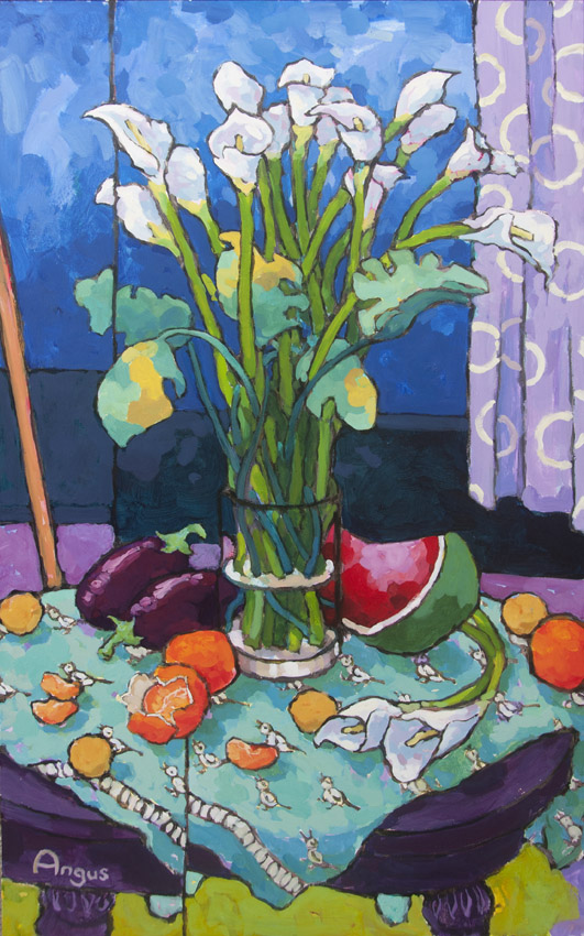Angus_Wilson_Calla_Lily_with_Eggplant_and_Watermelon