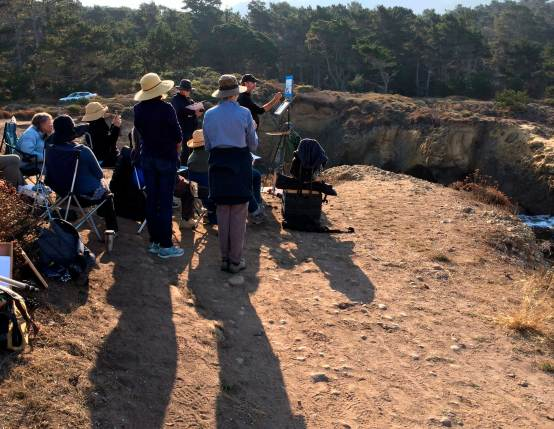 Plein Air Painters watch instructor at Point Lobos