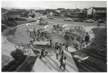 This is our second annual Fourth of July block party. This year thirty-three familes came for beer, barbecued chicken, corn on the cob, potato salad, green salad, macaroni salad, and watermelon. After eating and drinking we staged our parade and fireworks. 1972