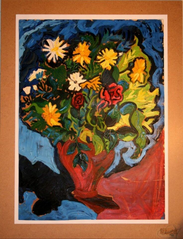 olio su carta da macellaio -50 x 70 cm - 1974