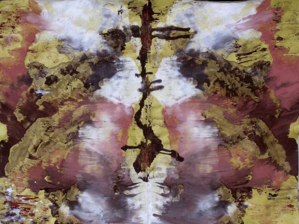 terre e resine naturali su carta su sacco10 x 75 cm - 2006