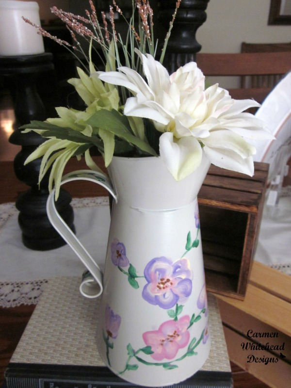 Painted tin pitcher tutorial by www.carmenwhitehead.com