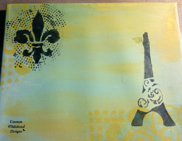 Letters from Paris original canvas created by www.carmenwhitehead with The Crafter's Workshop stencils #tcwstencillove