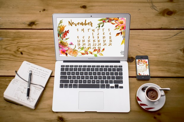 November 2017 desktop and mobile calendar by Carmen Whitehead Designs