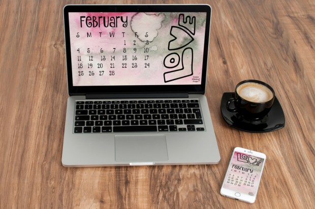 February 2018 desktop calendar created by Carmen Whitehead Designs
