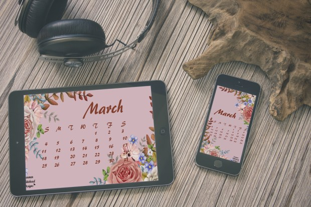 March 2018 desktop calendar - Carmen Whitehead Designs