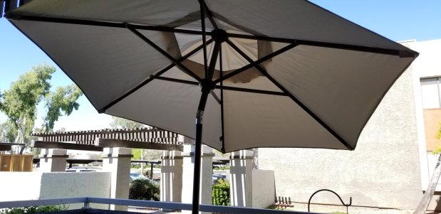 New Abba Patio umbrella for my balcony - Carmen Whitehead Designs