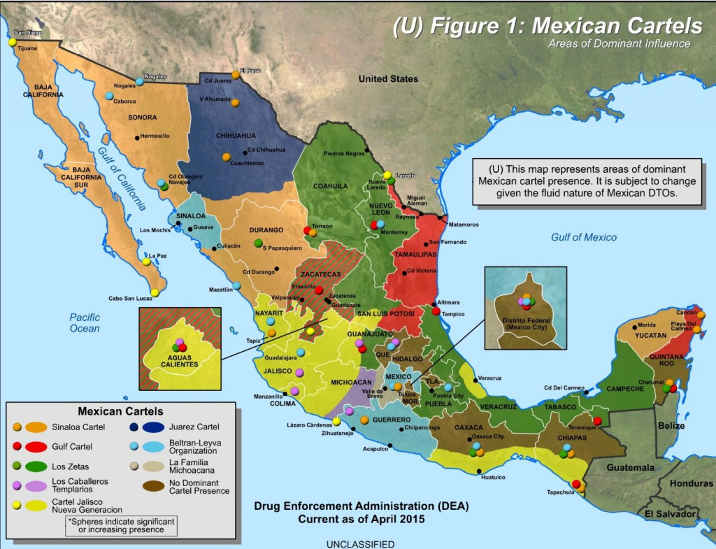 Mexican Cartels in Mexico DEA Map 2015 (Large)