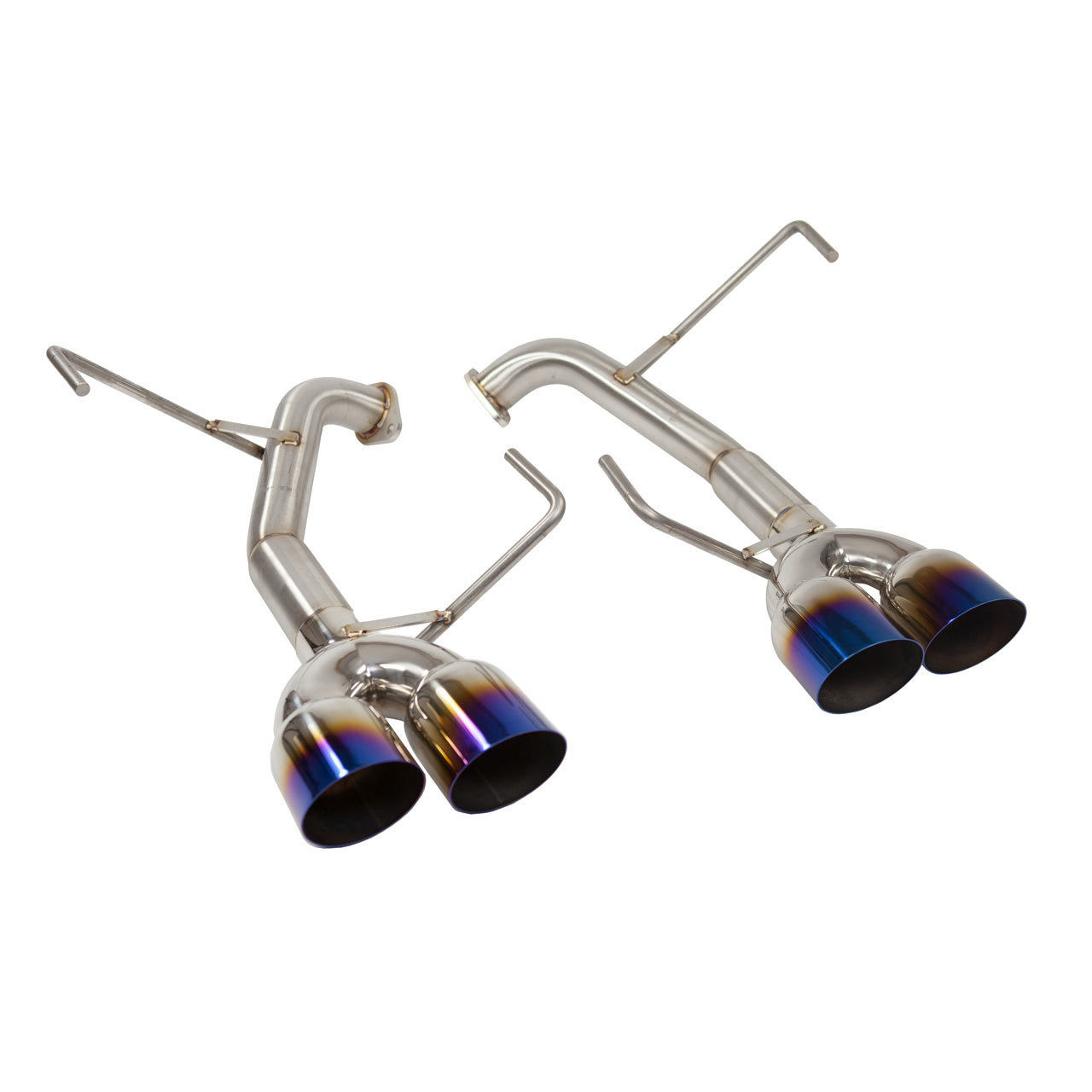 hight resolution of muffler delete axle back exhaust 3 5 quad single wall neo chrome
